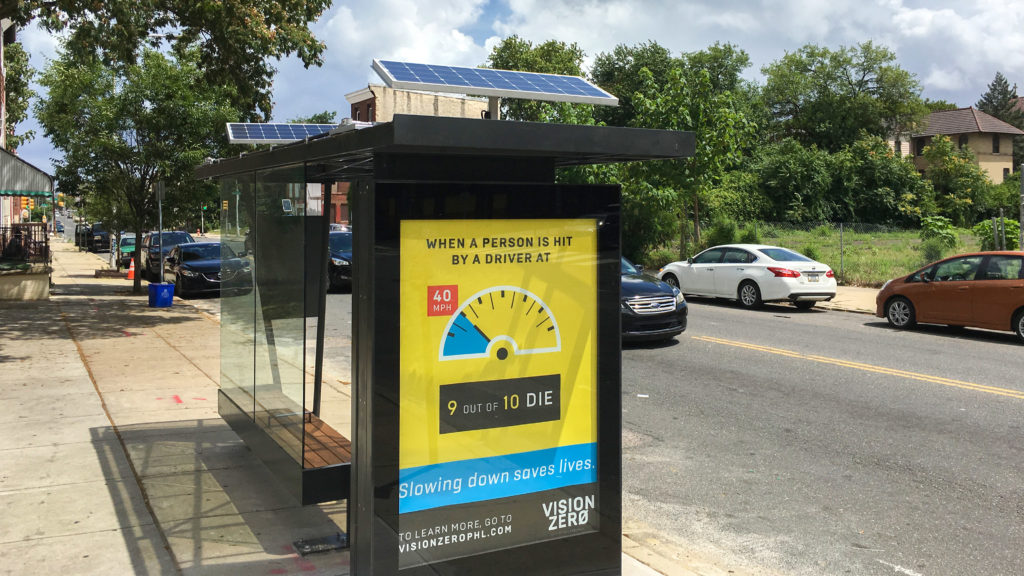 The Strawberry Mansion bus shelter features two solar panels, which power the overhead lights and the backlit advertisements