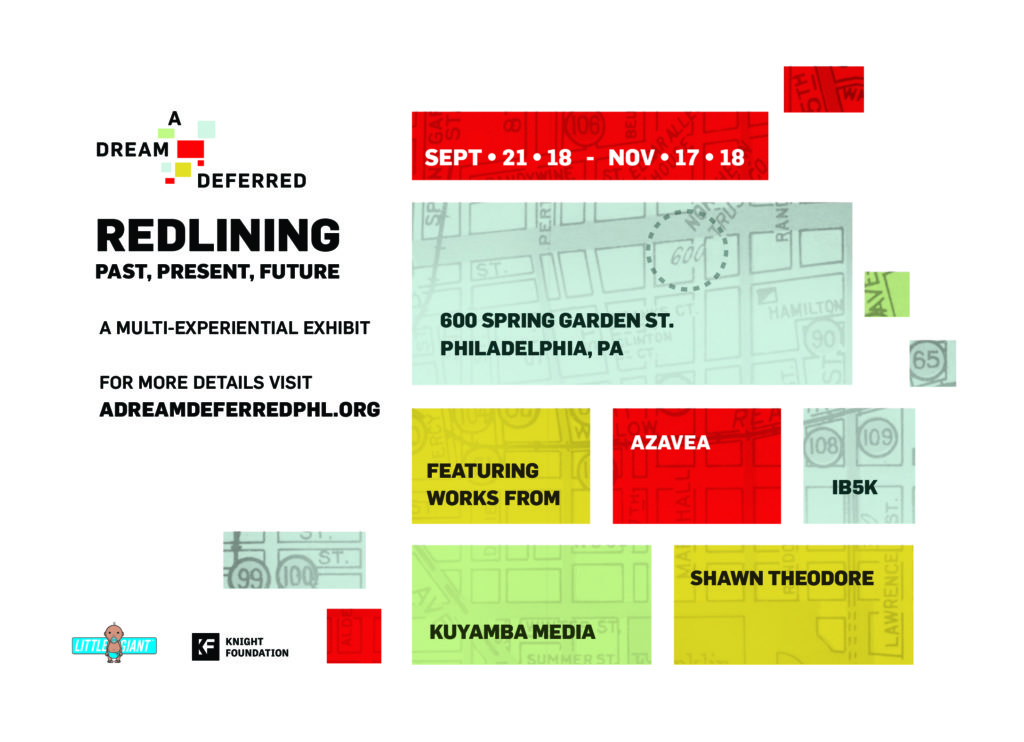 "A flyer for ""A Dream Deferred,"" an exhibit that will explore how redlining impacted Philly neighborhoods."