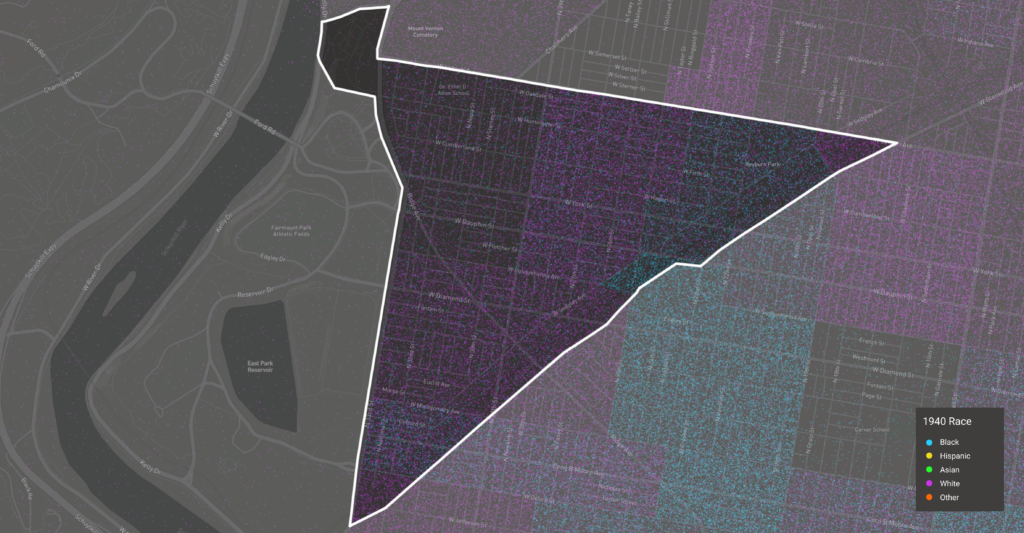 A visualization of the 1940 demographics of Strawberry Mansion