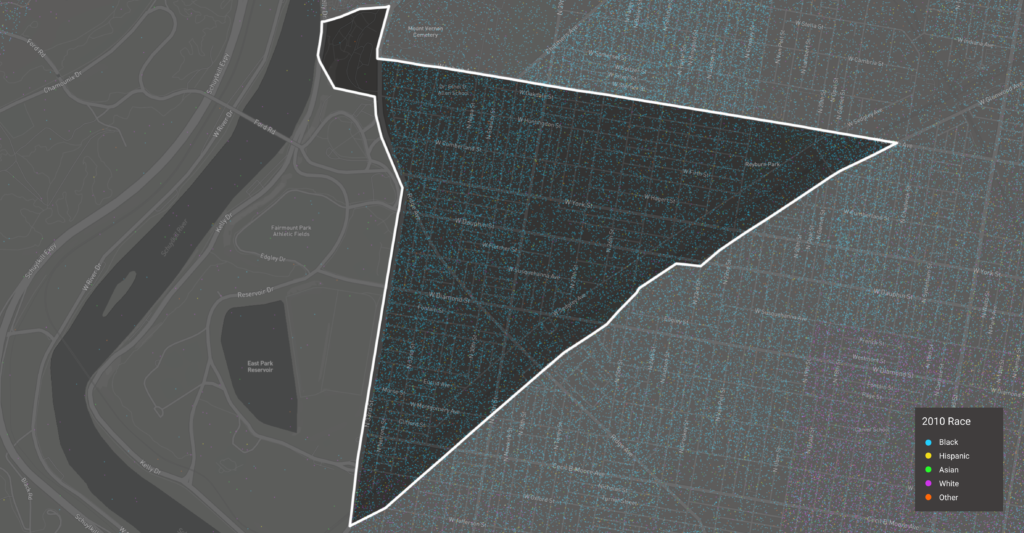 A visualization of the 2010 demographics of Strawberry Mansion