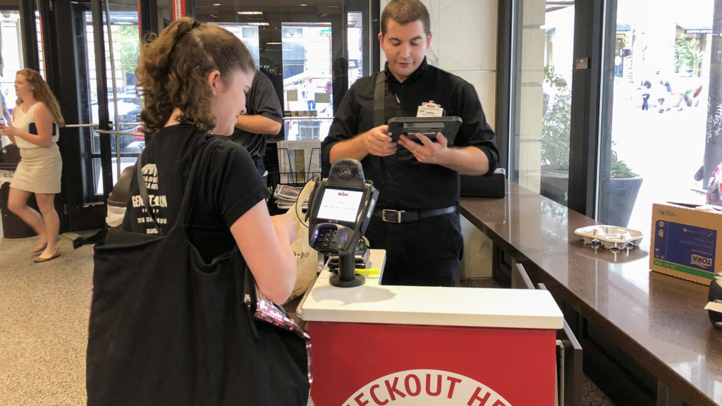 A portable checkout kiosk at the Broad and Walnut Wawa