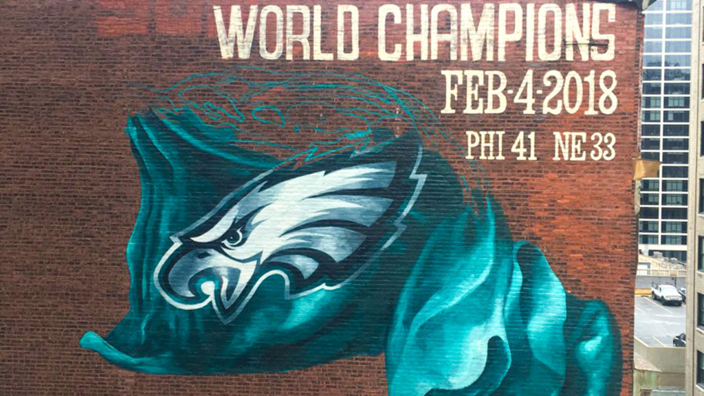 'Bringing It Home' is the city's newest of many Eagles murals