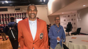 Maurice 'Mo' Cheeks wearing his new Hall of Fame jacket