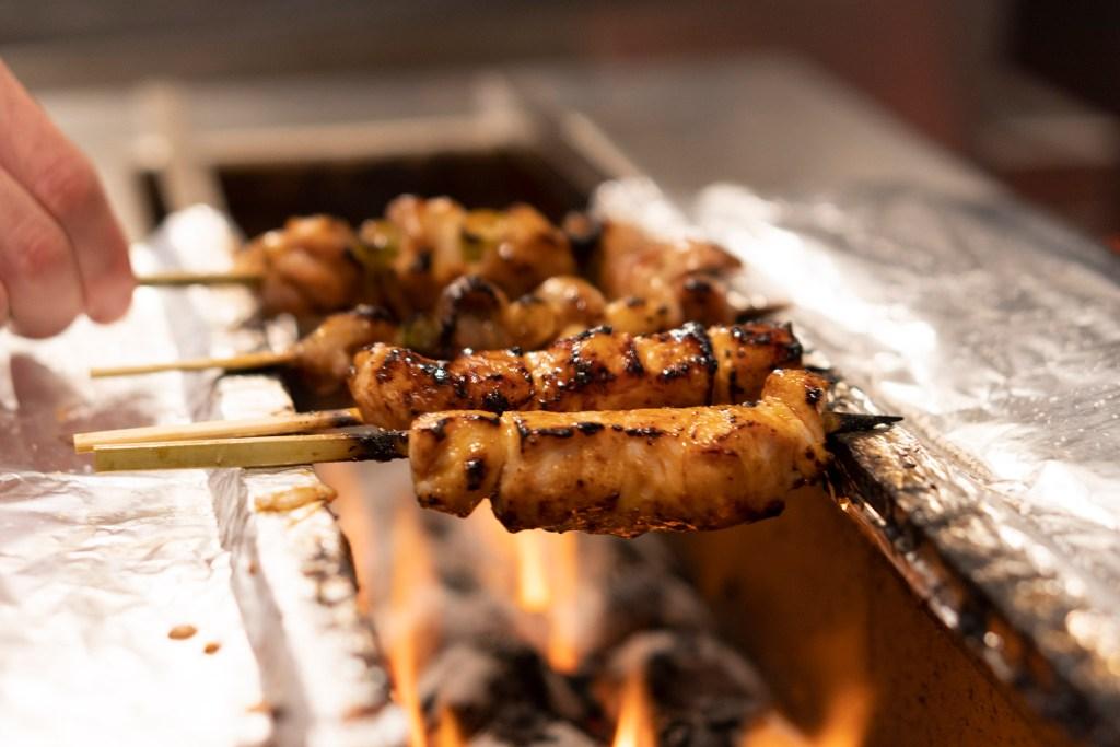 Chicken yakitori on the robatayaki grill at Nunu