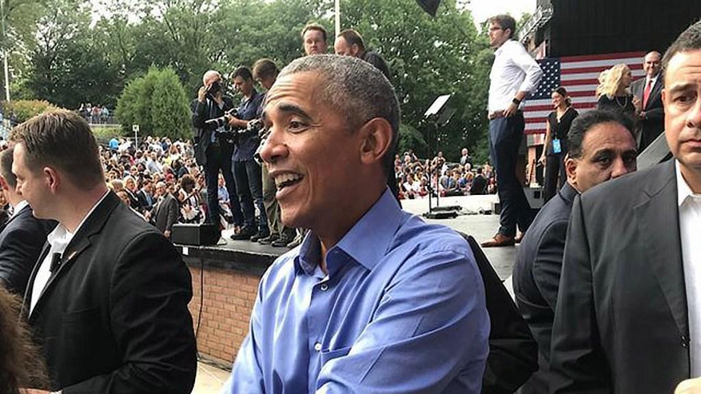 President Barack Obama in Philadelphia at the Dell Music Center on Friday, Sept. 21, 2018