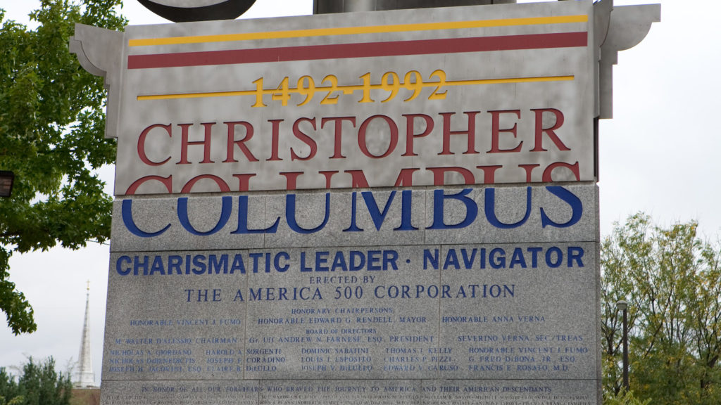 The monument to Christopher Columbus near Penn's Landing