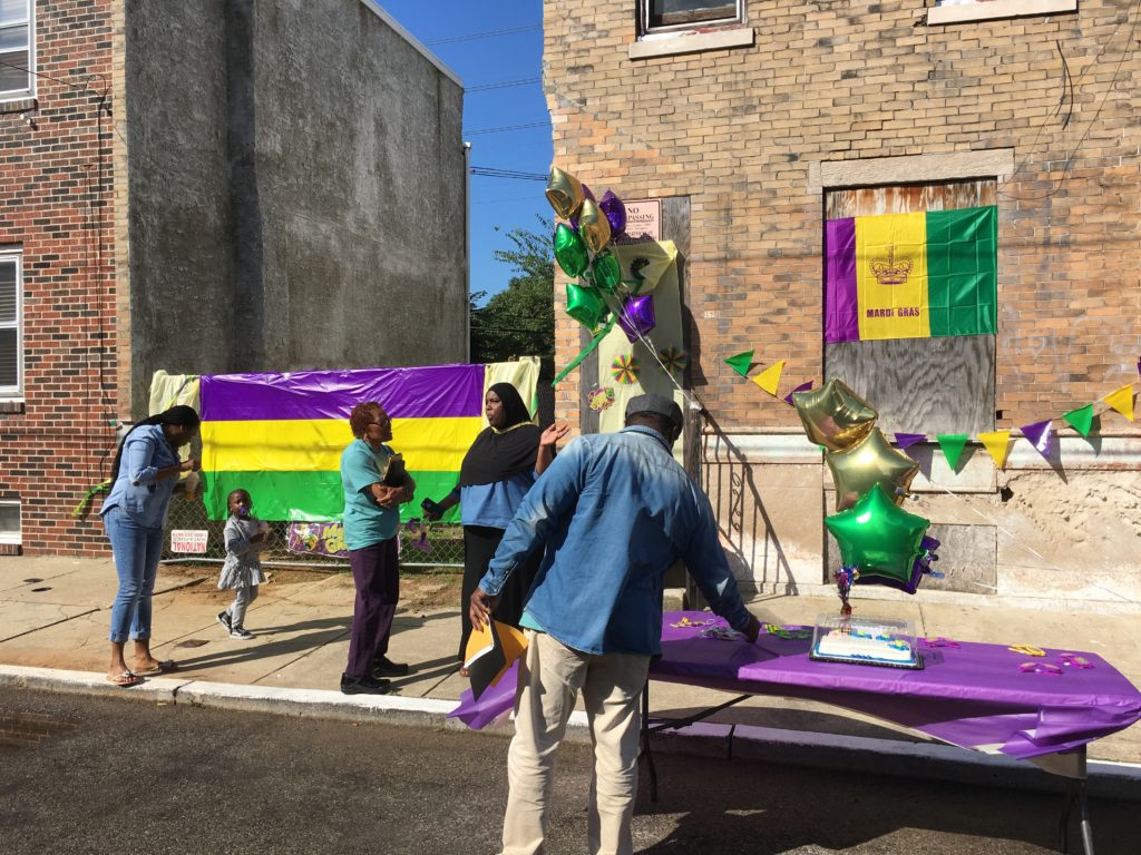 The 1500 block of South Taylor Street, styled for judging day with a Mardi Gras theme.