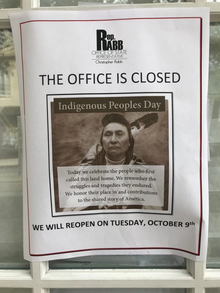 A sign posted outside Rep. Chris Rabb's district office