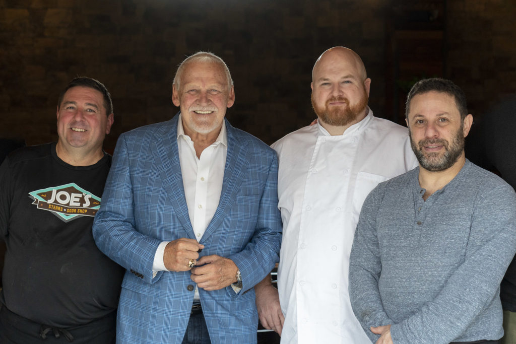 L to R: Joe's Steaks owner Joe Groh; Flyers legend Bernie Parent; City Tap House corporate chef Larry Hawks; Mike's BBQ owner Michael Strauss