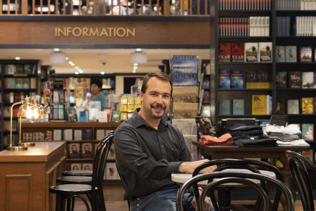 Manager Rick Rollins at the bookstore's cafe