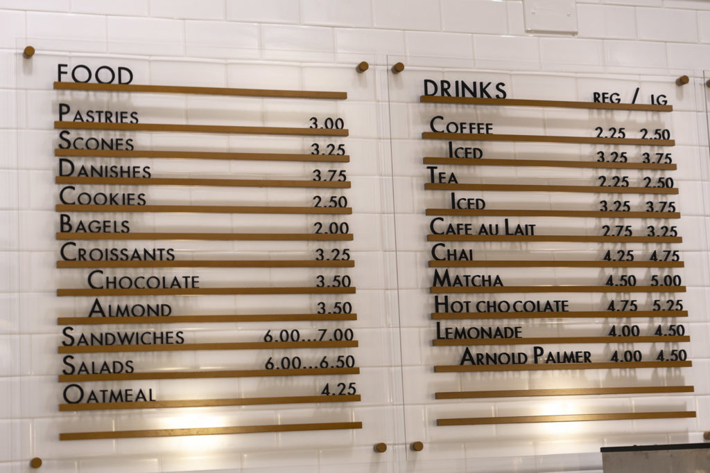 The cafe has a small menu of coffee, tea and snacks