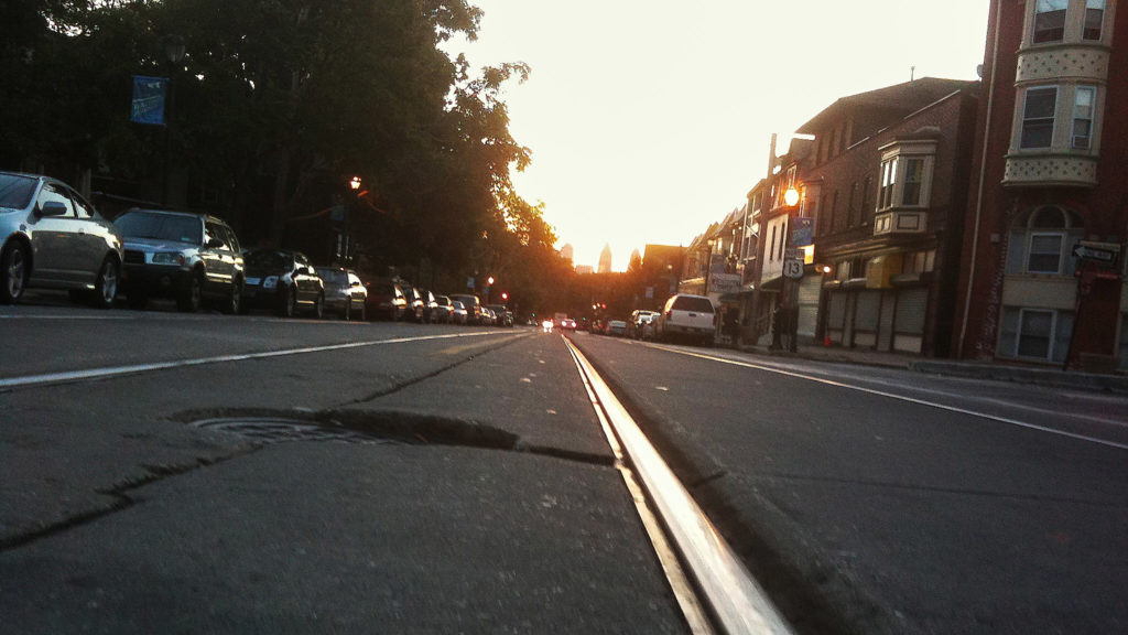 Trolley tracks on Baltimore Avenue