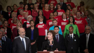 Rep. Marguerite Quinn is flanked by gun reform supporters and Gov. Tom Wolf at the capitol building.