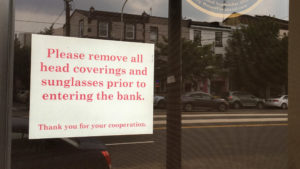 The sign outside the Tioga-Franklin Savings Bank on Girard Avenue near Oxford