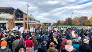 Counter-protesters and police surround Independence Mall on Saturday, Nov. 17