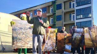 John 'Johnny Doc' Dougherty speaking at a rally this winter