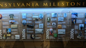 A Pennsylvania Milestones timeline inside the capitol welcome center.