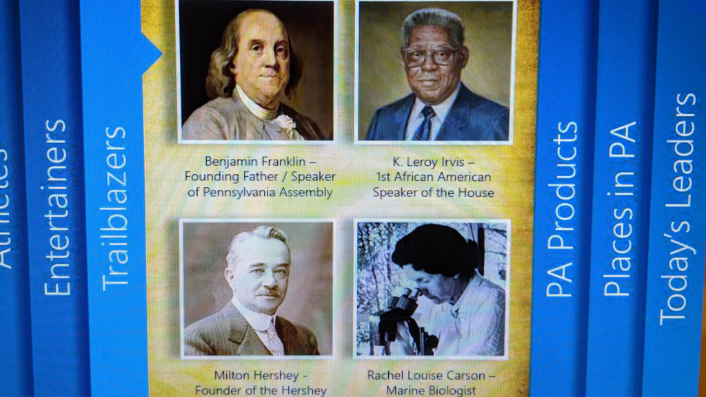 "A touch screen display of Pennsylvania ""trailblazers"" located near the capitol welcome center."