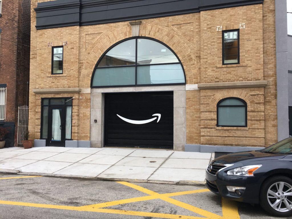 The Amazon-branded delivery truck entrance