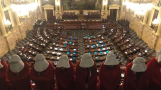 Protesters dressed as handmaids protested a 20-week abortion ban in the Pa. General Assembly in 2017.
