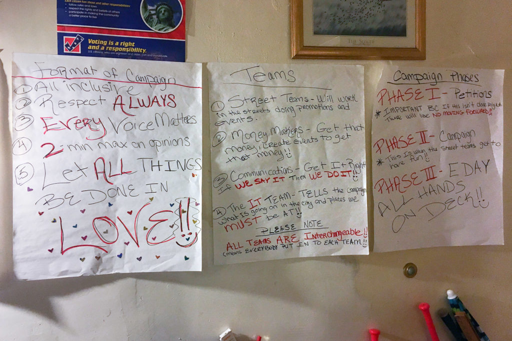 A few campaign strategies, outlined on Sheila Armstrong's living room wall