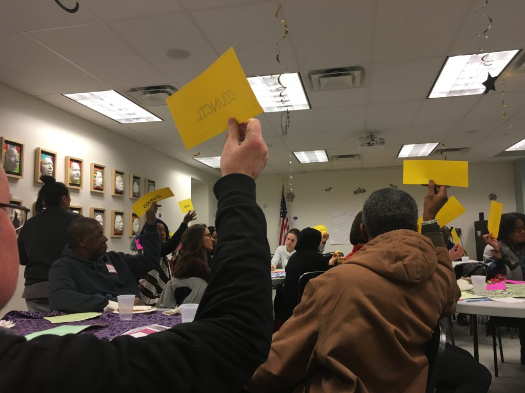 Attendees voting unanimously for Council in a power-identifying exercise