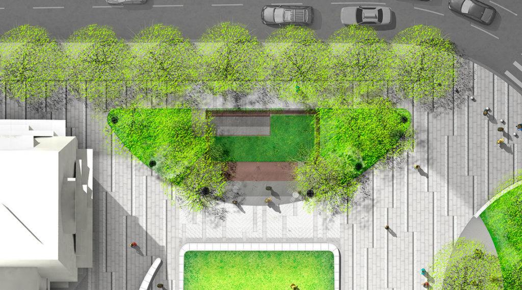 Rendering of the new kiosk as seen from above