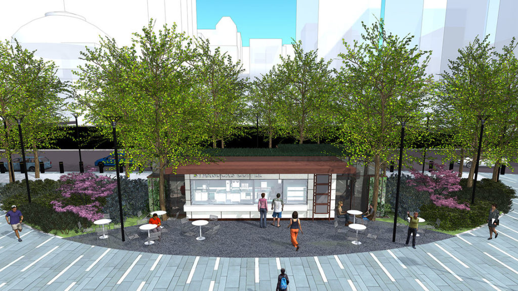 Rendering of the incoming coffee kiosk at Dilworth Park