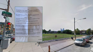 The creepy letter and the vacant lot it references