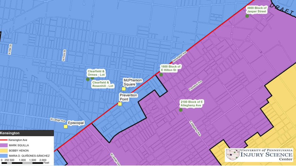 Rendering from Penn study identifying possible Safehouse locations within different City Council districts