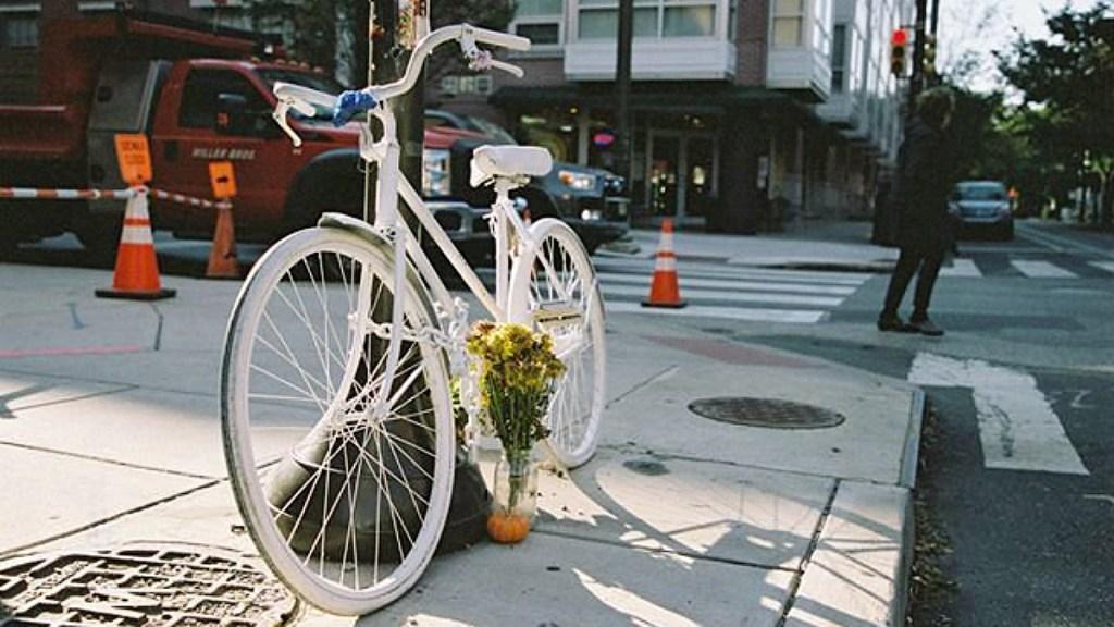 A ghost bike in honor of Emily Fredricks