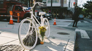 A ghost bike in honor of Emily Fredricks