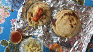 Loroko pupusas come with  traditional curtido and tomato salsa