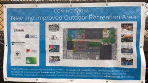 A sign posted at Fishtown Recreation Center advises neighbors of the forthcoming improvements