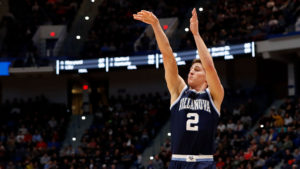 Villanova Wildcats guard Collin Gillespie (2) attempts a three point shot against the Purdue Boilermakers during the second half of a game in the second round of the 2019 NCAA Tournament