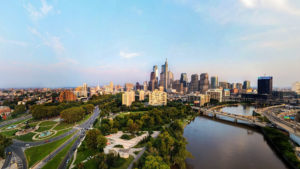 Philly from above the Schuylkill, looking southeast