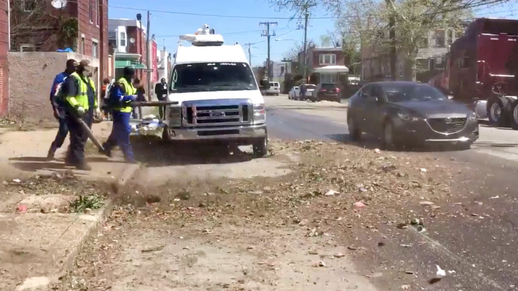 A demo of Philly's new street sweeping program, which uses crews with backpack blowers