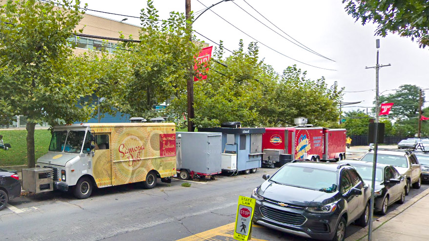 Food trucks lined up in their regular spots at Temple