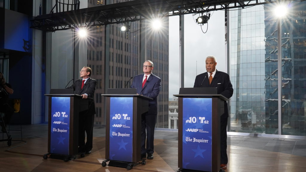 Democratic candidates for mayor Alan Butkovitz, left, Sen. Anthony Hardy Williams, right, and Philadelphia Mayor Jim Kenney, center, participate in a live televised debate, Monday May 13, 2019, at the Comcast Technology Center  in Philadelphia