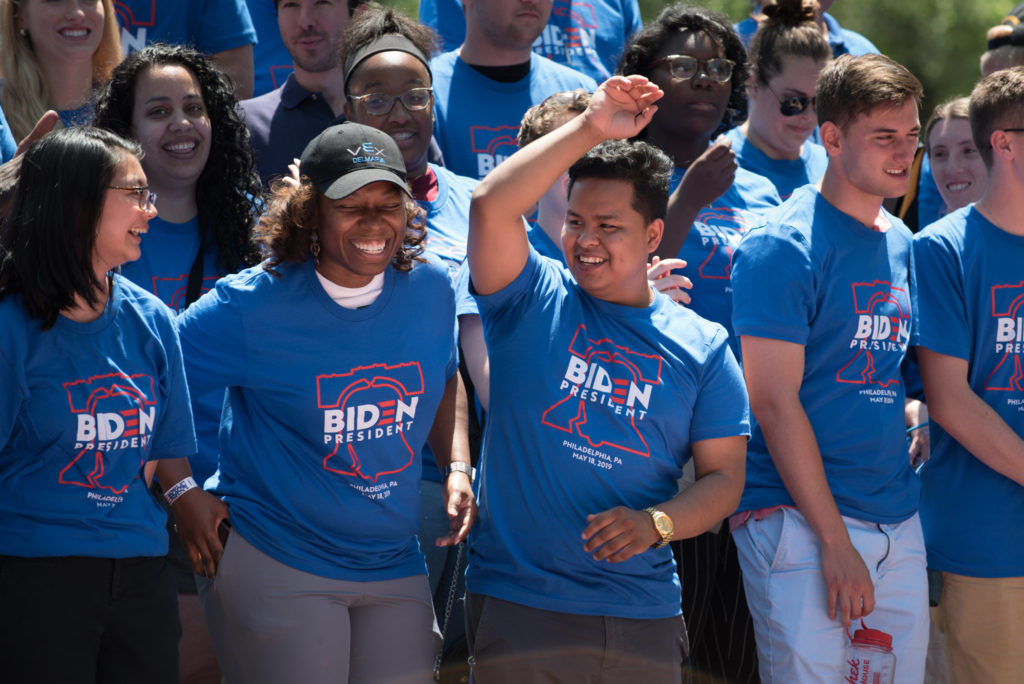 Supporters at Joe Biden's campaign rally at Eakins Oval in Philadelphia on Saturday, May 18, 2019.