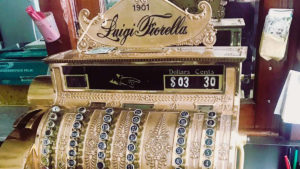 Fiorella's 1901 brass National Cash Register has gone missing