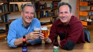 Jim Koch and Sam Calagione with their flagship beers