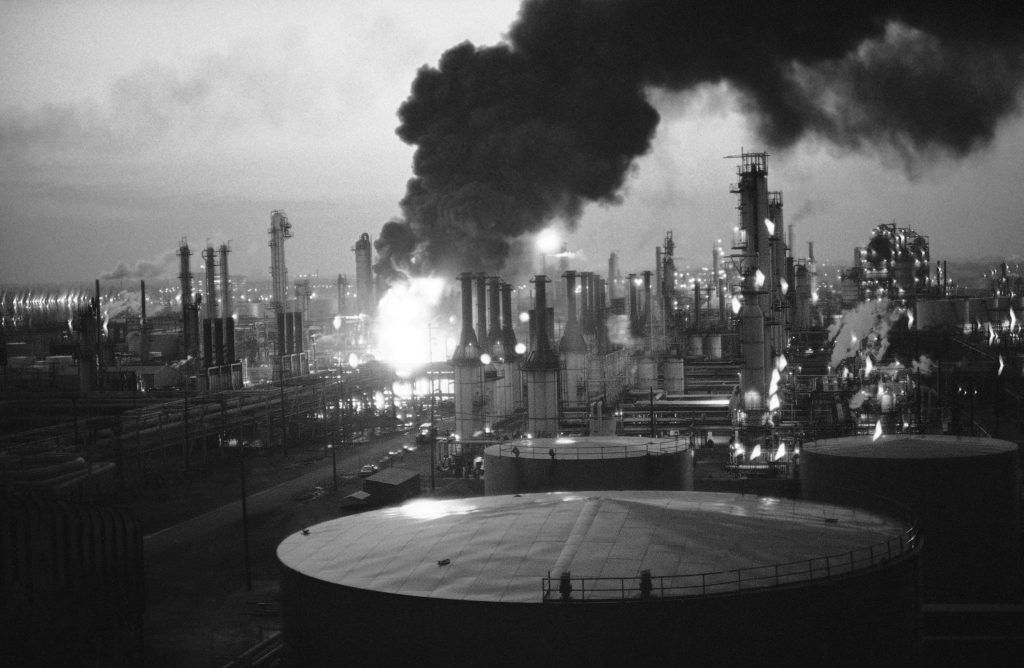 A spectacular multi-alarm fire hit the Gulf Oil refinery on May 24, 1966.