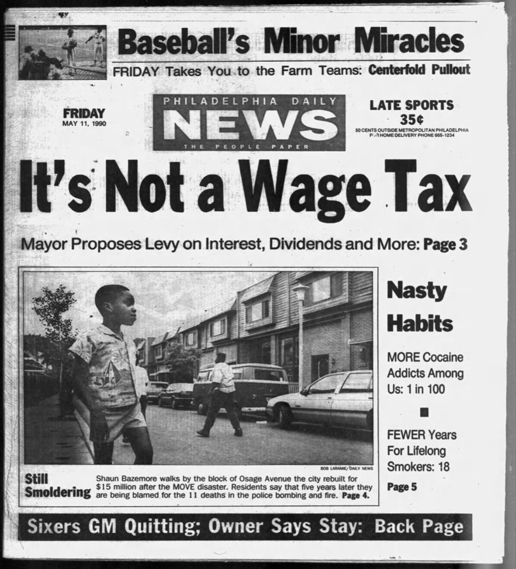 Front page of the Daily News on May 11, 1990, where Davies' first byline for the paper appeared front page.