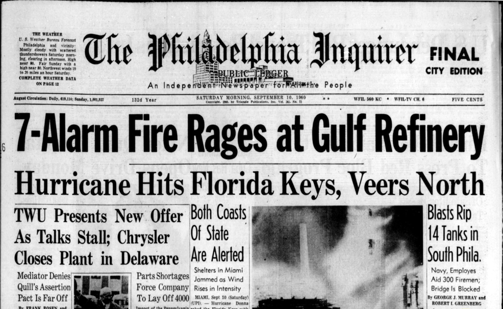 Front page of the Philadelphia Inquirer, Sept. 10, 1960