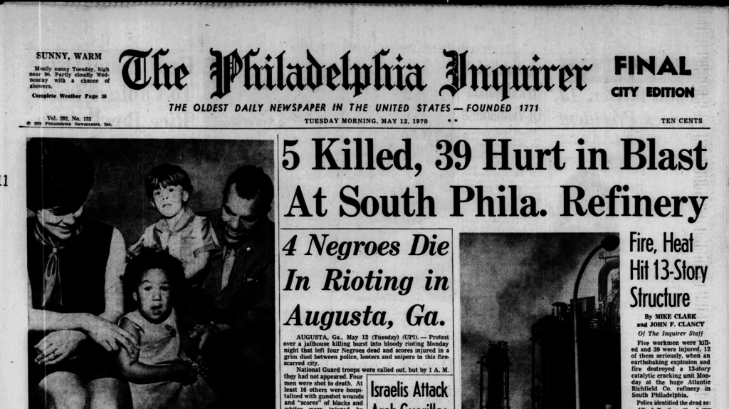 Front page of the Philadelphia Inquirer, May 12, 1970
