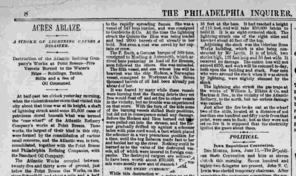 Clipping from the Philadelphia Inquirer, June 12, 1879