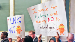 Opposition to the proposed LNG plant protested in City Council chambers