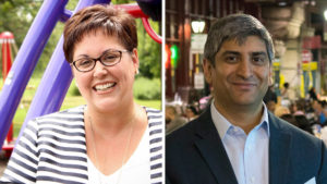 Kathryn Ott-Lovell (left) and Anuj Gupta each won $150,000 to innovate Philly's public spaces