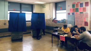 The polling place at Stetson school in Fairhill on Election Day